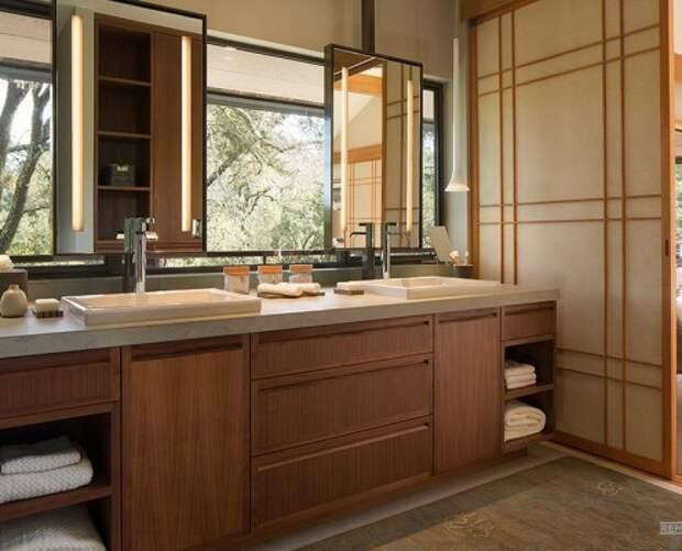Натуральные оттенки в оформлении ванной