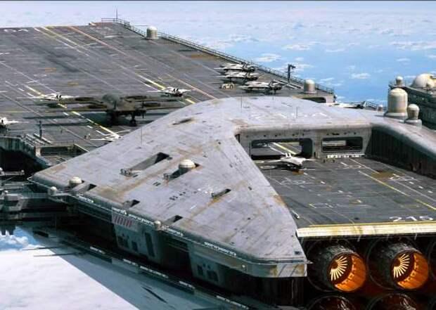 Первый летающий авианосец ВВС США. Единственный реальный проект летающей махины с авиагруппой