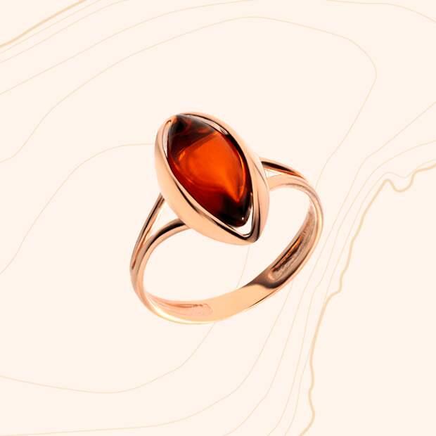 Кольцо «Дарвин», розовое золото, янтарь