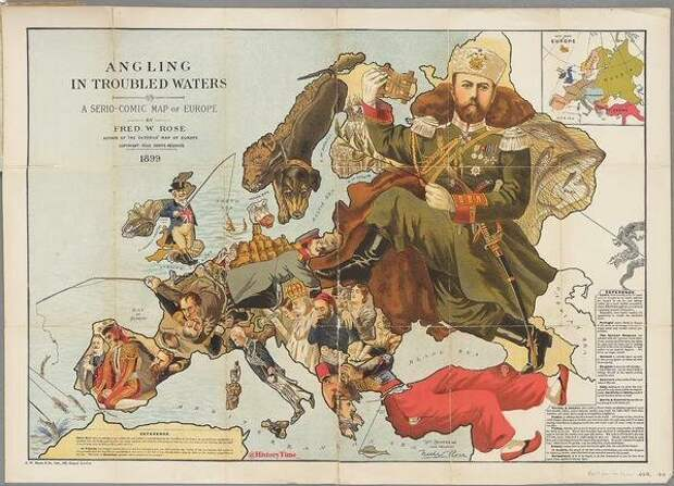 Юмористическая политическая карта Европы. Великобритания. 1899г. интересно, история, фото