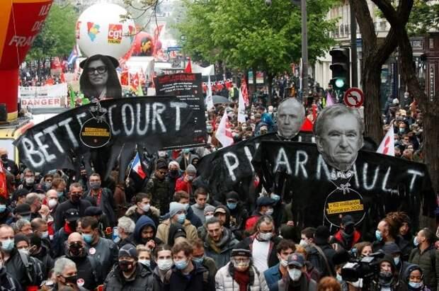 Полиция применила слезоточивый газ на манифестации в Париже