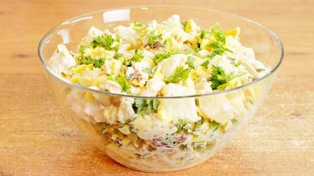 Салат с омлетными блинчиками