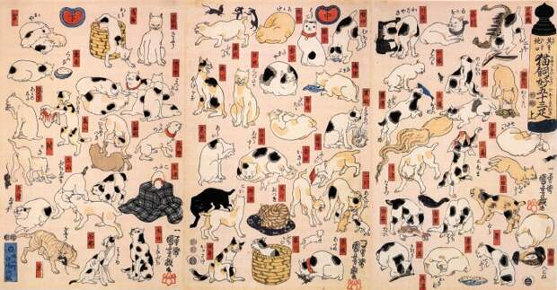 Утагава Куниёси – Коты, представляющие 53 станции Токайдо. \ Фото: taringa.net.
