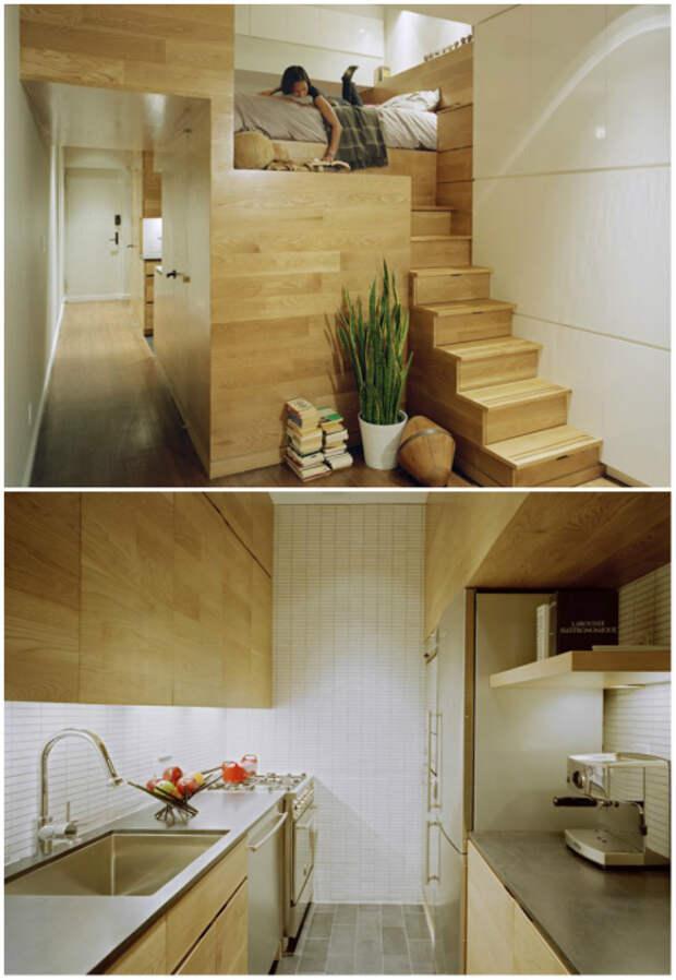 Благодаря мебельному модулю можно создать полноценную кухню и уютную спальню на втором ярусе (E-Village Studio). | Фото: archilovers.com.