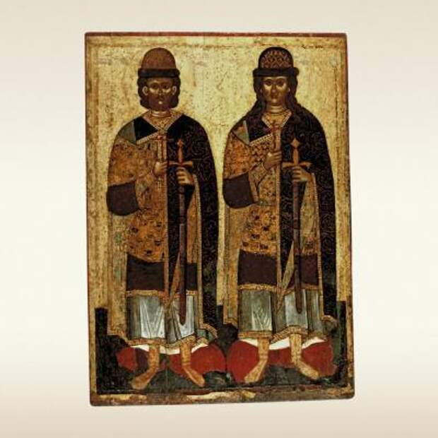 Святые князья Борис и Глеб. Икона конца XIV – начала XV века
