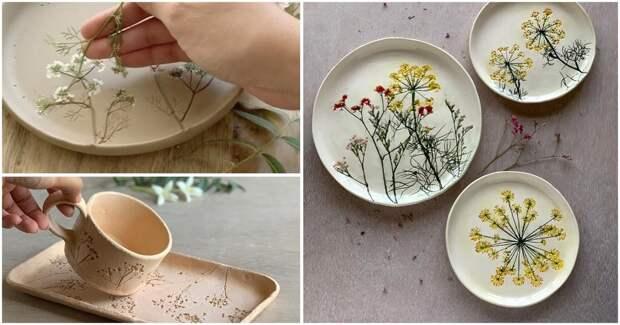 Удивительные изделия из керамики, созданные с помощью живых растений