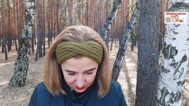 Простая повязка на голову спицами