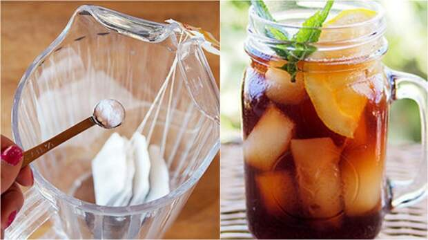 Холодный чай с фруктами