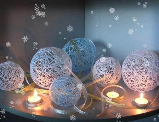 Ажурные снежные комья из ниток - самодельный декор новогоднего интерьера