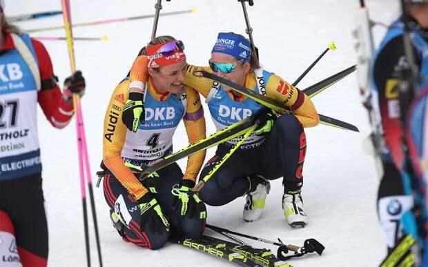 Сборная Германии по биатлону выиграла женскую эстафету на этапе Кубка мира в Оберхофе, Россия — 4-я