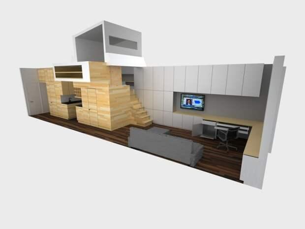 Оформление суперузкой квартиры с помощью уникальной мебельной конструкции (E-Village Studio). | Фото: archilovers.com.