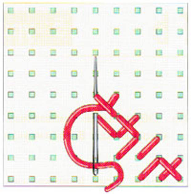 Вышивка крестиком по диагонали. Двойная диагональ справа налево (фото 9)