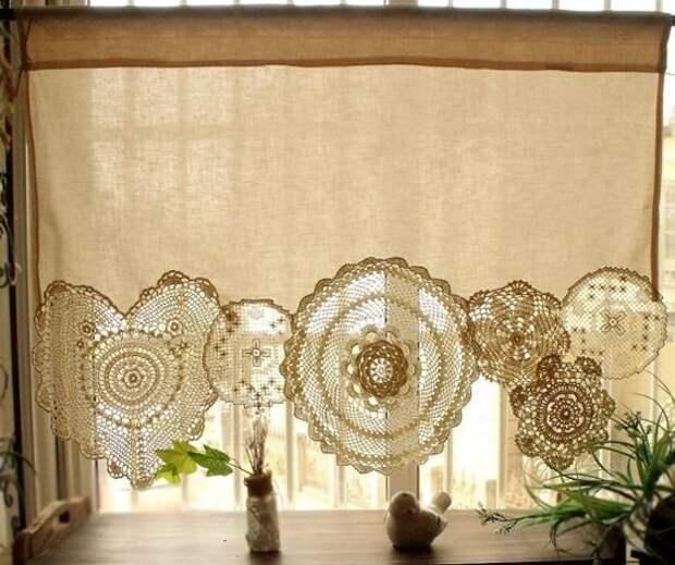 Салфетки, нашитые на край полотна = штора для кухни или спальни Фабрика идей, кружевная салфетка, наши руки не для скуки, поделки и переделки