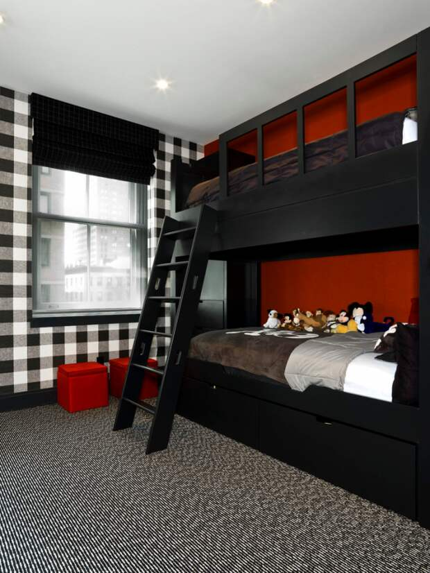 Детская комната в черно-бело-красных тонах