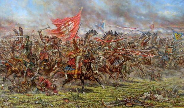 Атака польской конницы под Збаражем 13 июля 1649 года. Картина художника Анатолия Теленика. Рисунок со страницы художника в facebook - Гусария: от Жёлтых Вод до Городка Ягеллонского | Warspot.ru