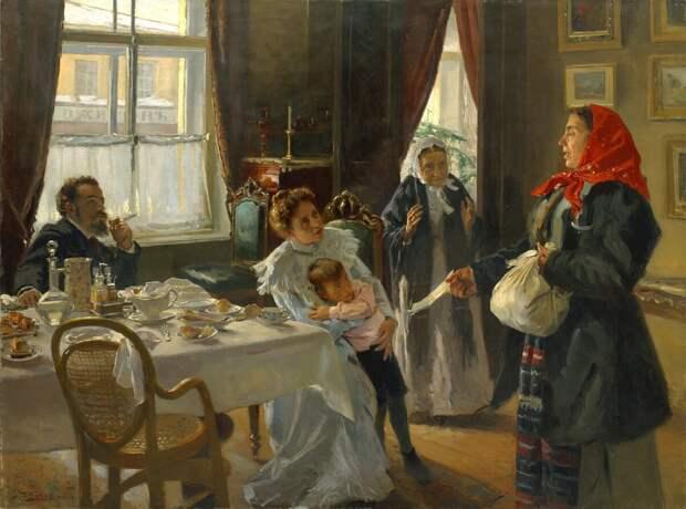 О чём рассказывает нам картина Маковского «Две матери. Мать приемная и родная»