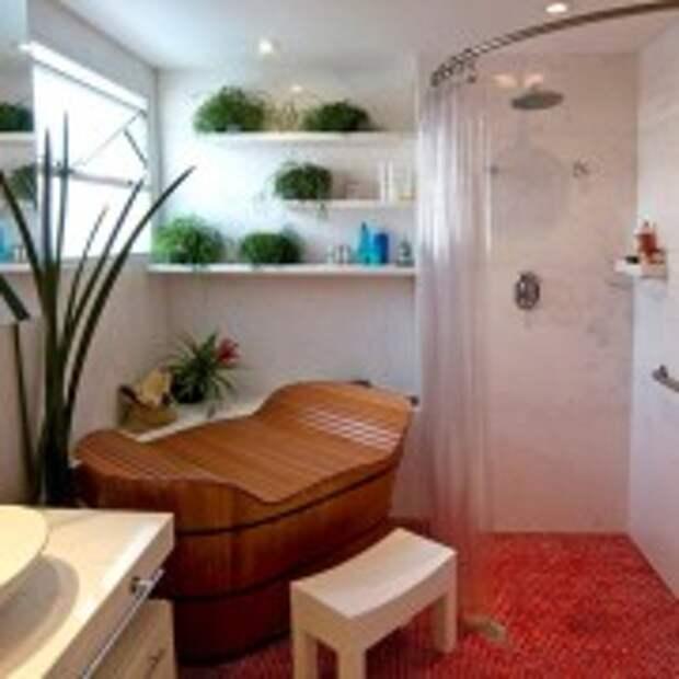Стилизованная ванная чаша в ванной