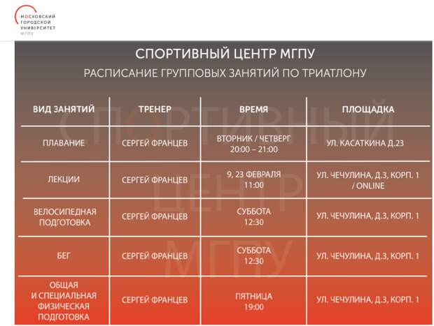 Спортивный центр МГПУ объявил о наборе в группу по триатлону
