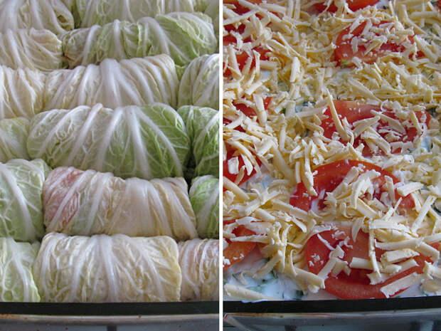 Голубцы из пекинской капусты запеченные под сметанным соусом