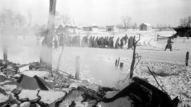Колонна немецких военнопленных на улице разрушенной деревни под Сталинградом. Фото: © Военный альбом