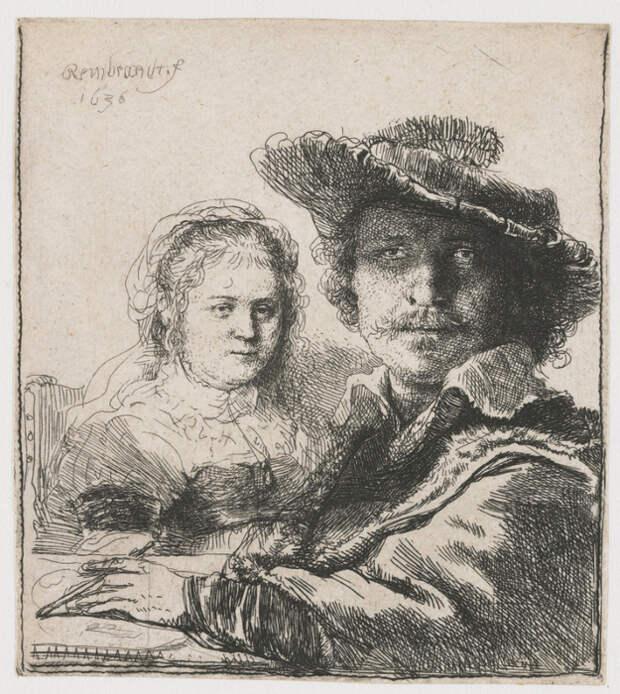 Рембрандт-с-Саскией (625x700, 583Kb)
