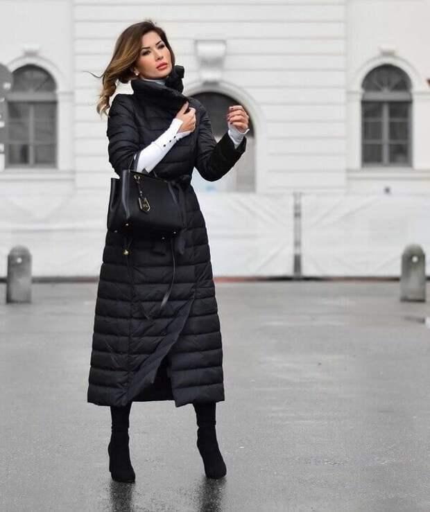 Женский образ со стеганым пальто. /Фото: i.pinimg.com