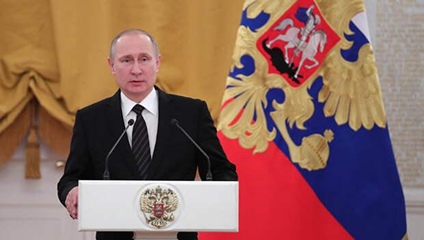 Президент РФ Владимир Путин выступает на торжественном приёме в Кремле. 28 декабря 2016