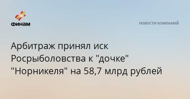 """Арбитраж принял иск Росрыболовства к """"дочке"""" """"Норникеля"""" на 58,7 млрд рублей"""