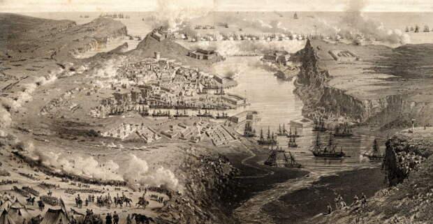 Первая бомбардировка Севастополя кораблями флота союзников 5 (17) октября 1854 года. Литография  Виктора Адама и Юбера Клерже, Франция, 1855 год