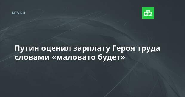 Путин оценил зарплату Героя труда словами «маловато будет»