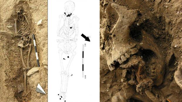 Скелет и череп женщины, похороненной с гвоздями. Фото: Il Tirreno