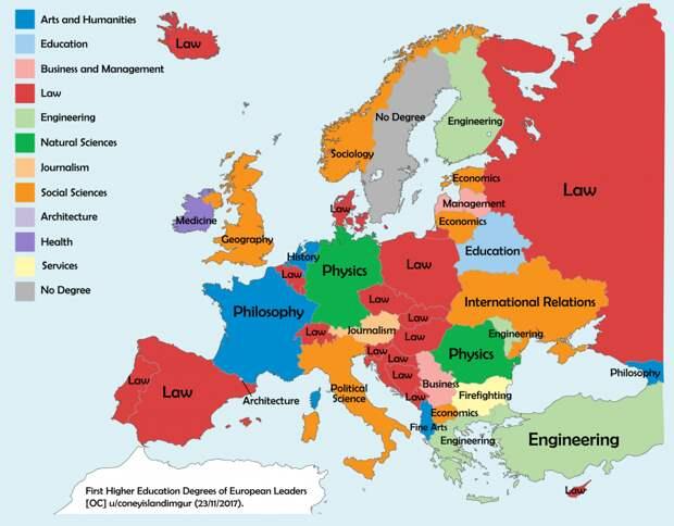 Карта уровня высшего образования лидеров европейских стран
