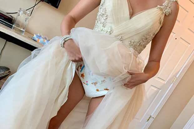 Невеста показала подгузники подсвадебным платьем исмутила пользователей сети