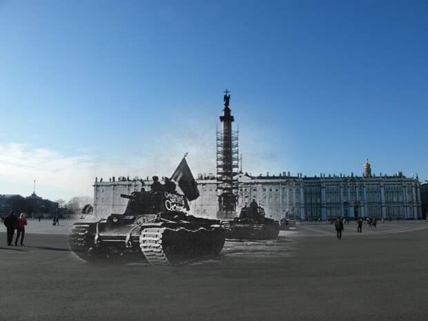 Ленинград 1941-2009 Дворцовая площадь. Колонна танков КВ-1 блокада, ленинград, победа