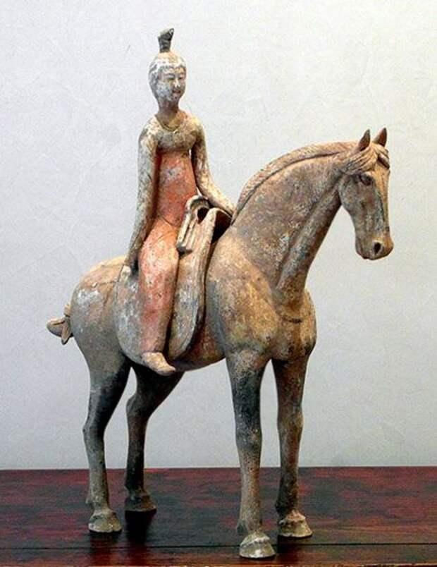 Древнекитайские керамические фигурки наездников. 3 - 10 вв. н. э.