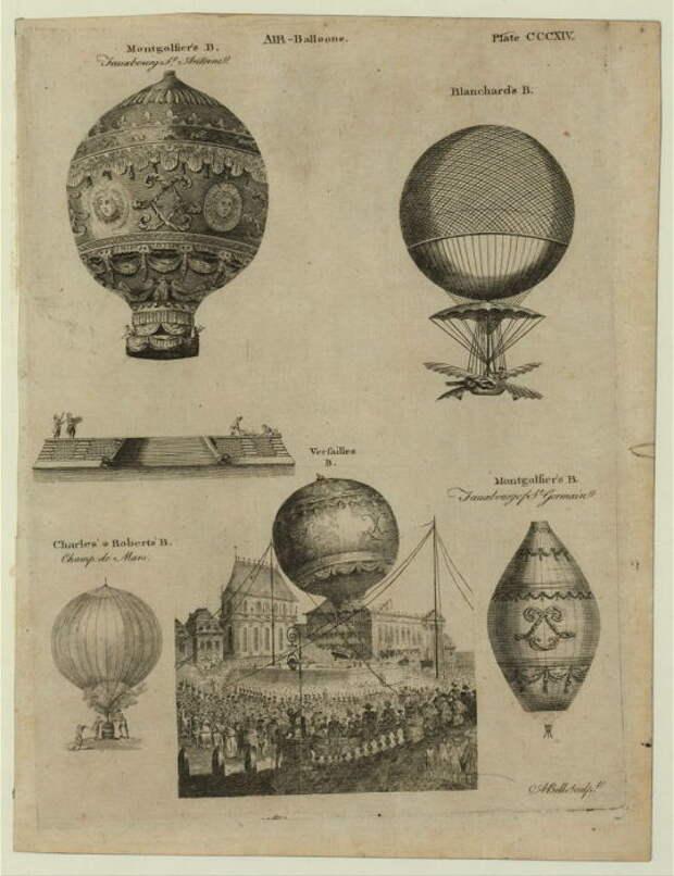 Различные конструкции французских воздушных шаров на рисунке 1784 года. | Фото: loc.gov.