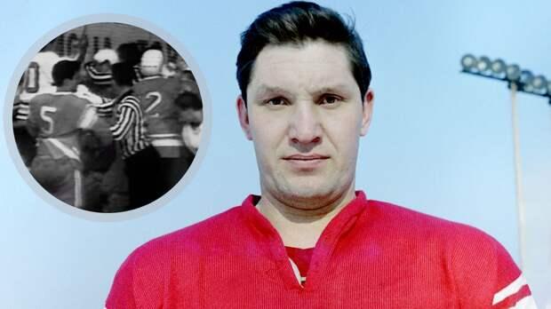 Знаменитая драка сборной СССР. В Советском Союзе вырезали из трансляции эпизод, в котором Рагулин мстил чехам