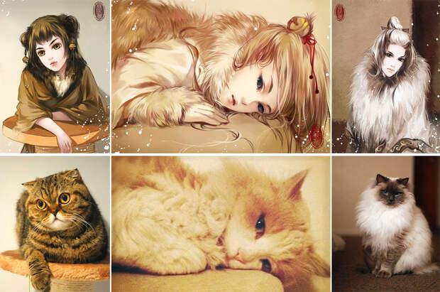 Кошек превратили в красивых девушек из аниме