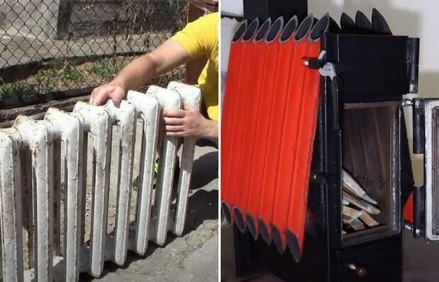 Как сделать эффективную печь для обогрева гаража из старых батарей