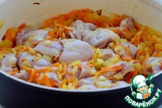 Овощное рагу с фасолью и курицей