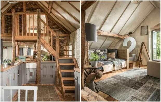 В комнату отдыха, расположенную на втором ярусе, ведет деревянная лестница, сделанная в духе средневековья («Wishbone Cottage»).   Фото: planetapl.life.