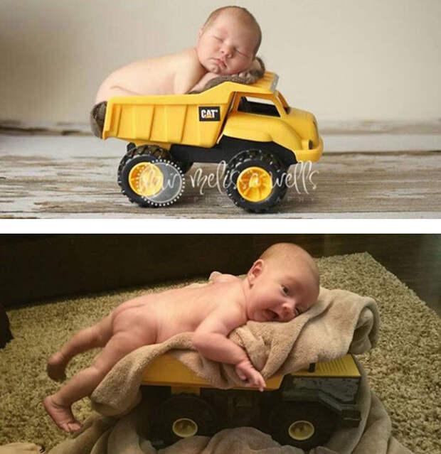 Малыш в грузовичке: образец и... дети, фото, юмор