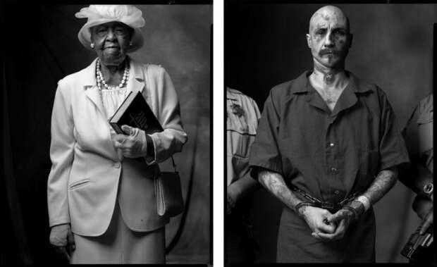 Прихожанка баптистской церкви и Заключенный-расист. Автор фото: Марк Лайт (Mark Laita).