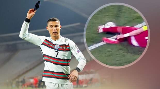 Скандал в Сербии: Роналду ушел с поля, выкинув капитанскую повязку. Судьи отменили его чистый гол на 94 минуте