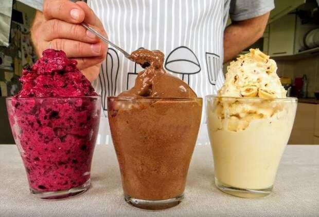 Как приготовить дома 3 вида мороженого за 5 минут, с которым магазинное не сравнится
