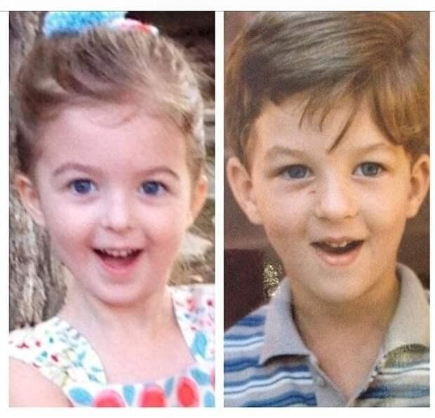 1. Дочь (слева) и отец в детстве (справа). Они ТАК похожи! отцы и дети, прикол, фото