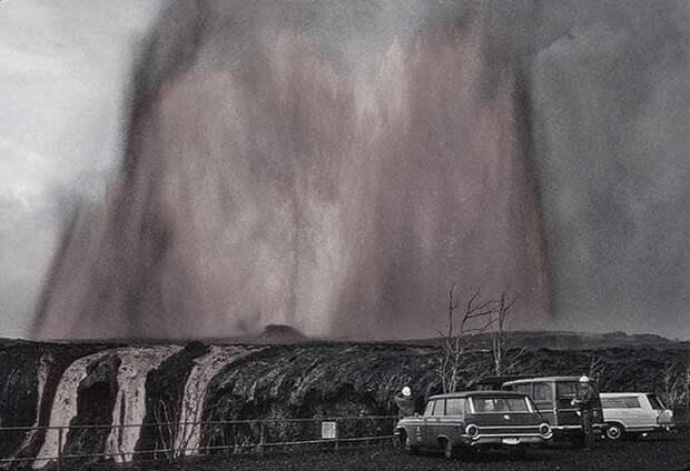Фонтан лавы высотой 300 метров. Гаваи, 1969 год.