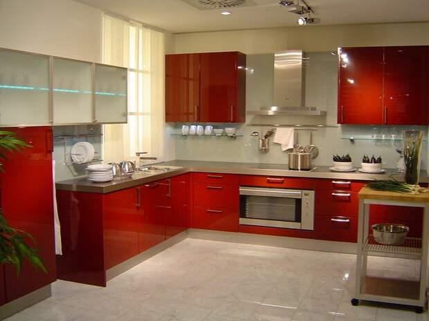 кухня в красно-белых тонах