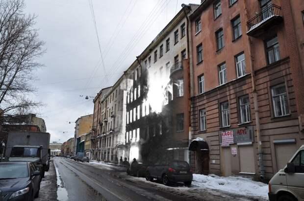 Ленинград 1942-2010 Боровая 26. Пожар блокада, ленинград, победа