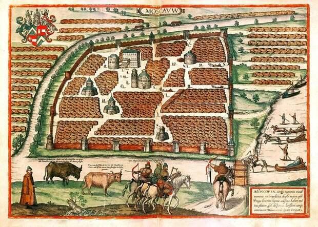 Сигизмунд фон Герберштейн. План Москвы из «Записок о Московии», издание 1556 года. Показан Кремль и его окрестности.